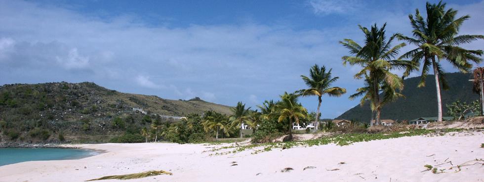 Happy Bay est une très belle plage déserte.